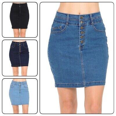 Washed Denim-mini (Women's Casual High-Rise Washed Denim Mini Skirt)