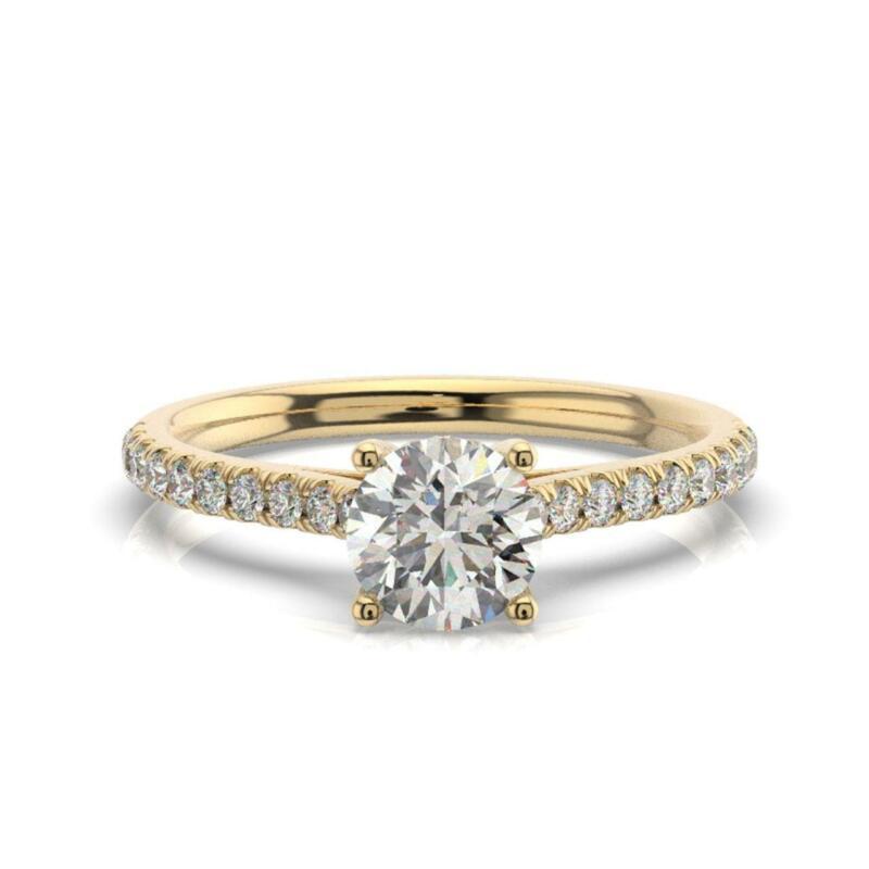 Real Natural Diamond Engagement Ring Round Cut 1.50 Carat E Vs2 14k Yellow Gold