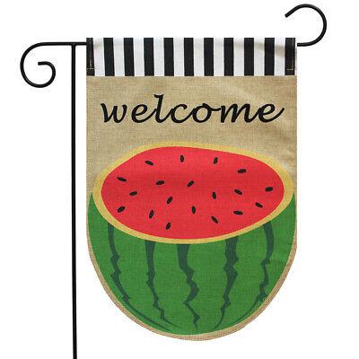 "Watermelon Burlap Summer Garden Flag Welcome 12.5"" x 18"" Bri"