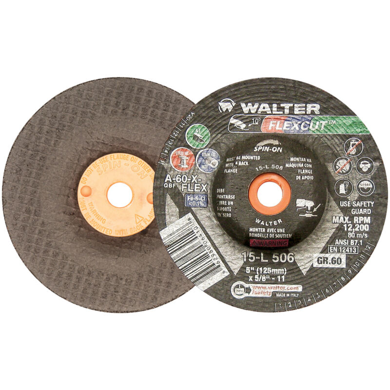 Walter 15L506 5x5/8-11 Flexcut Spin-On Grinding Wheels Type 29S Grit 60, 25 pack