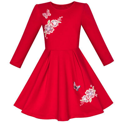 Girls Dress Red Long Sleeve Embroidered Holiday Christmas Dress Size 5-10](Girls Red Christmas Dresses)