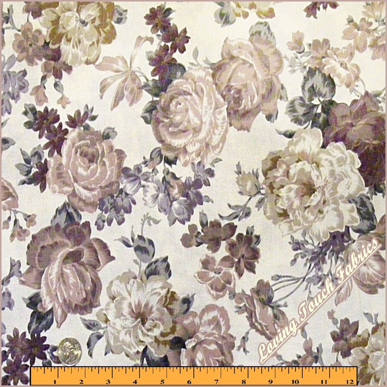 Victorian roses floral cotton fabric by the yard ebay for Victorian floral fabric