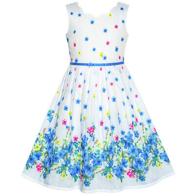 Girls Sun Dress (Sunny Fashion US STOCK! Girls Dress Blue Flower Petal Summer Sundress Size)