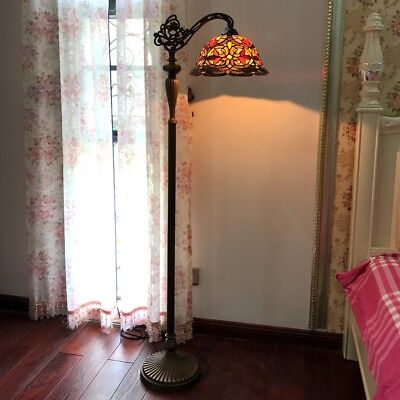 Tiffany Style 1 Bulb Victorian Reading Stained Glass Floor Lamp 12