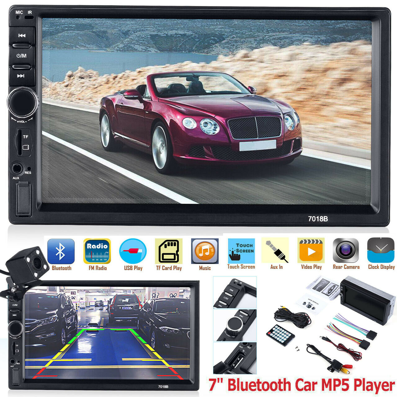 "7"" Double 7018B 2 DIN Car GPS FM Stereo Radio MP5 Player Tou"