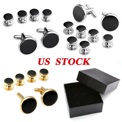 Men Classical Shirt Tuxedo Cufflinks Wedding Party Buttons Cuff Links Stud Set Tuxedo Shirt Studs