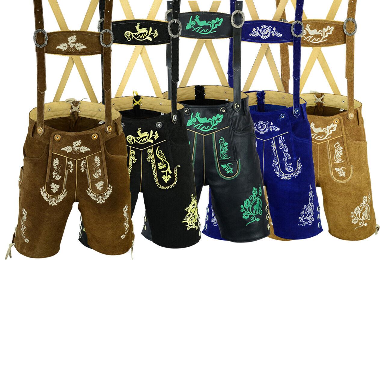 Herren Trachtenlederhose Kurz Inkl. Hosen Träger in 4 Farbe 46 bis 60 LEFAM