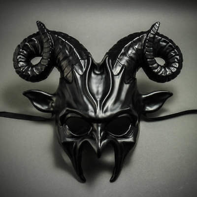 ILOVEMASKS Devil Krampus with Horn Metallic Black Masquerade Ball Party Mask (Krampus Horns)