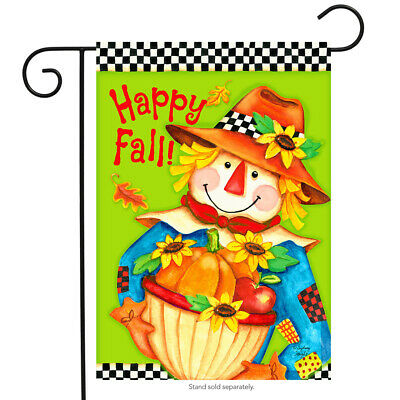 "Checkered Scarecrow Fall Garden Flag Primitive Autumn 12.5"" x 18"" Briarwood Lane"