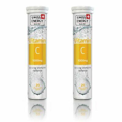 2 X Swiss Energy Vitamin C 1000 mg Effervescent 20 Ct Fight Stress Anti Oxidant
