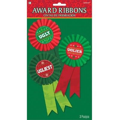 Ugly Uglier Ugliest Sweater 3 Ct Award Ribbon Badges Christmas Party](Ugly Sweater Awards)