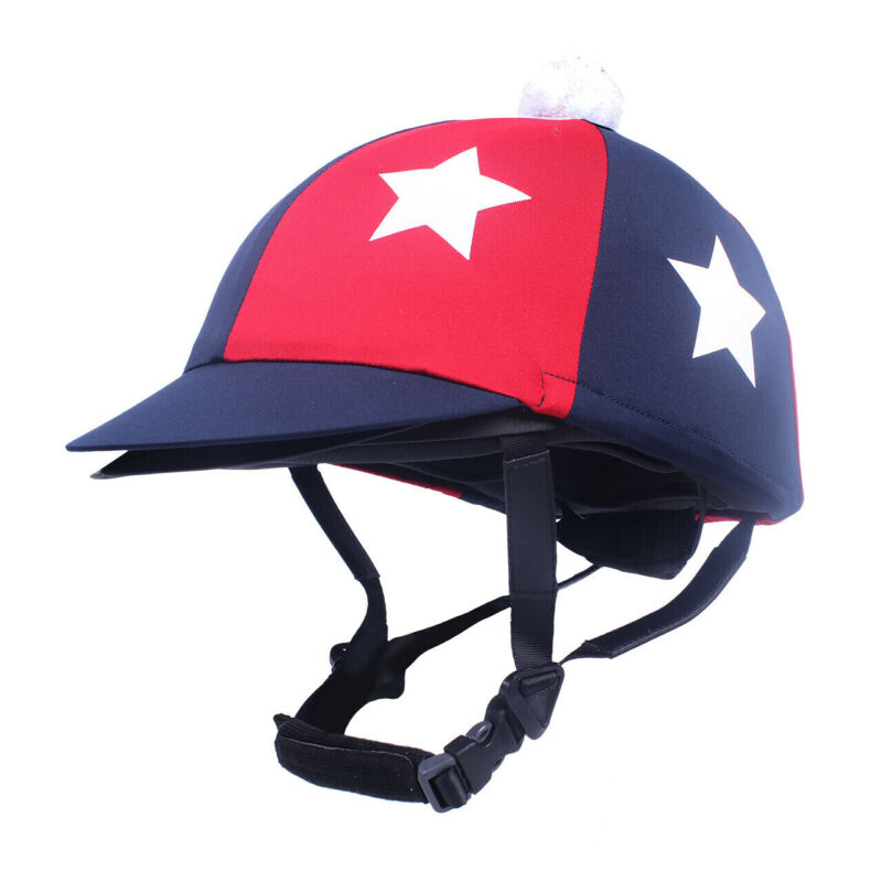 QHP Vegas Helmet Cover - Marine navy & red with stars QHP
