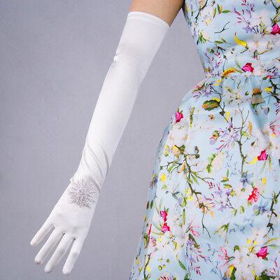 Stretchy Satin Silk Gloves Opera Evening Long Short Wedding Bridal Ivory White - Short Satin Gloves