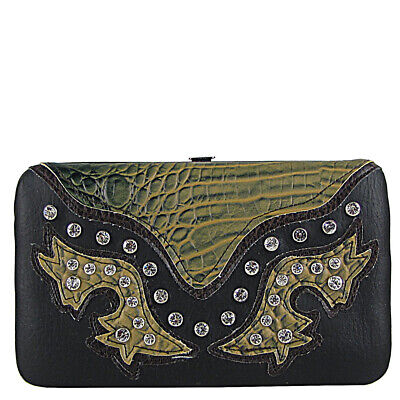 BLACK WESTERN RHINESTONE STUDDED ALLIGATOR BLING LOOK BIFOLD FLAT THICK -