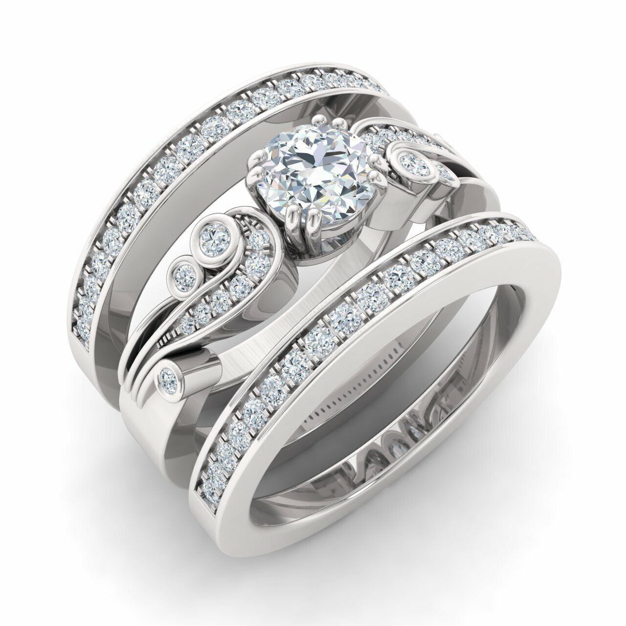 Natural Diamond Bridal Engagement Ring w/ 2 Matching Bands Solid 14k White Gold