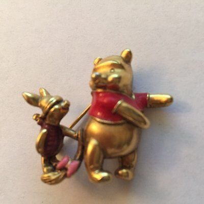 Disney Piglet Jewelry - Disney Piglet Trying to Pin Eeyore Tail Onto Winnie the Pooh Jewelry Pin
