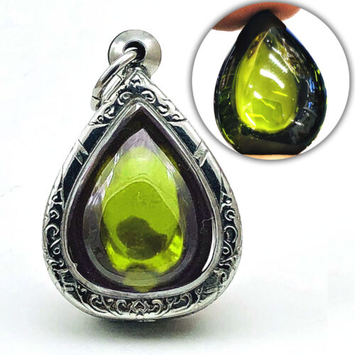 Leklai Naga Eye Crystal Healing Gem Stone Thai Amulet Teardrop Dark Green #16634