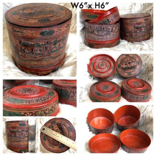 "6x6"" Asian Antique Burmese betel nut box, Kun it, Burma lacquerware"