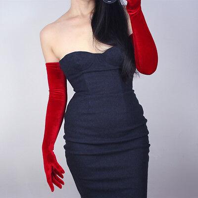 Velvet Gloves Opera Evening Long Stretchy Velours Flannel Hot Red Touchscreen](Red Long Gloves)