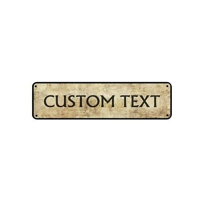 Personalized Text Custom Designed Novelty Vintage Look Aluminum Plate Metal Sign