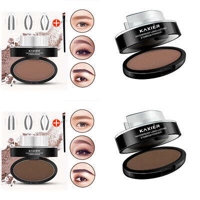Pro Waterproof Natural Eye Brow Stamp Powder Seal Palette Delicated Shape Makeup