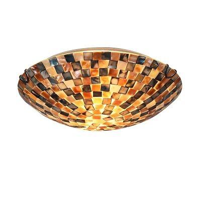 "Mosaic Shells 2 Bulb Flush Mount Ceiling Light Fixture 12"" S"
