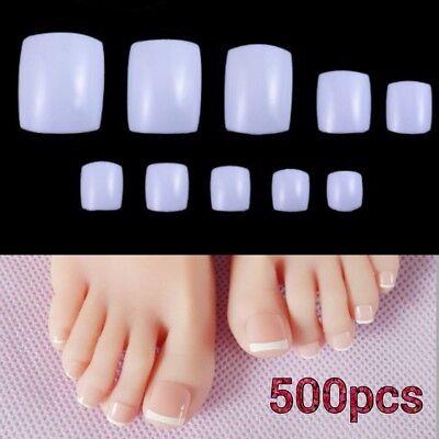 22w Acrylic (500pcs BE22W DIY Nail Art Full False Foot Toe Nail Tips Acrylic Gel White)