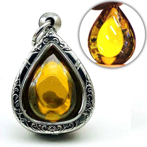 Leklai Naga Eye Crystal Healing Gem Stone Thai Amulet Teardrop Rich Yellow 16632
