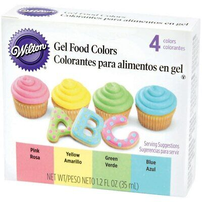 Wilton Primary Gel Food 4-Color Set - Yellow Pink Blue Green Icing -