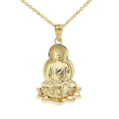 Lotus Flower Buddha ( Gold Buddha In Lotus Flower  Pendant Necklace in (yellow White  Rose) )