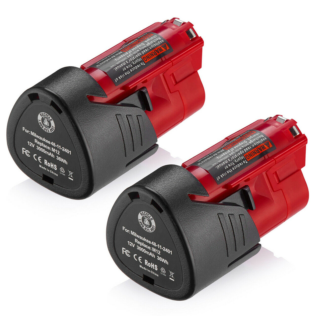 2 PACK 3000mAh For Milwaukee M12 12 Volt 48-11-2401 48-11-24