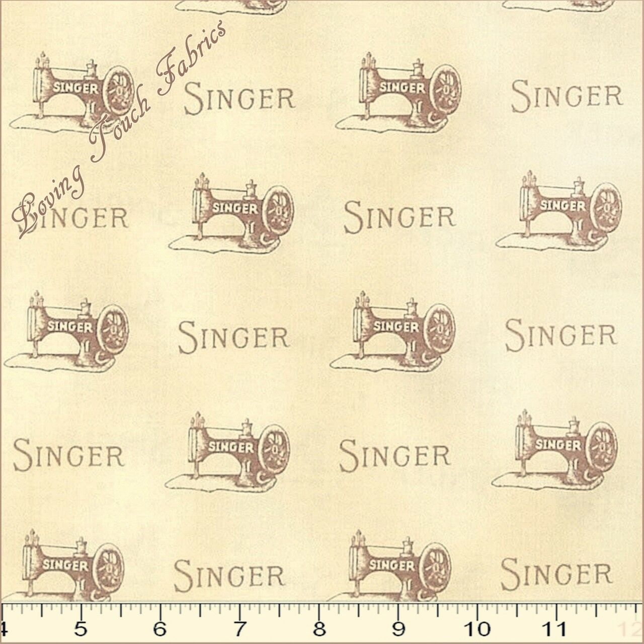 "ROBERT KAUFMAN ""SEWING WITH SINGER"" 15648-15 MACHINES FABRIC"