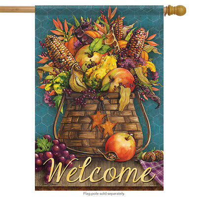 basket of bounty welcome fall house flag