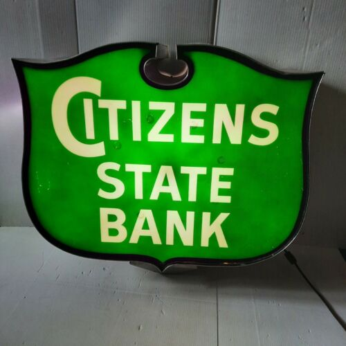 Vintage Citizens State Bank Lighted Sign Banking Financial Advertising