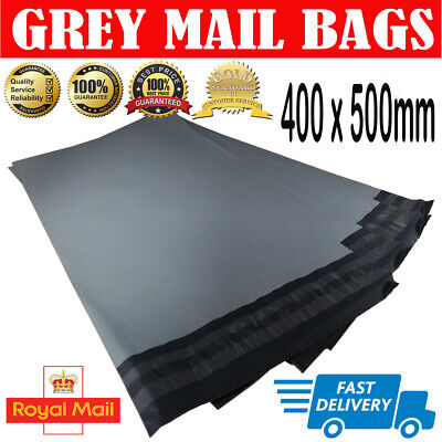 100 BAGS  400 x 500mm STRONG POLY MAILING POSTAGE POSTAL SELF SEAL GREY