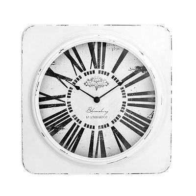 White Antique Square Wall Clock with Distressed Frame - Vintage Look White Square Clock