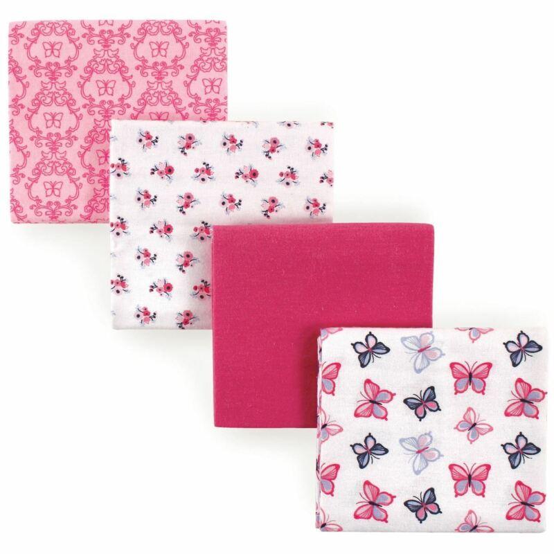 Hudson Baby Girl Flannel Receiving Blankets, 4-Pack, Butterflies