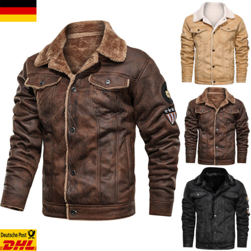 Herren Pelz Übergangsjacke Warm Teddyfell Jacke Retro Overcoat Winter Lederjacke