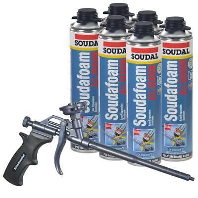 Soudal Kit 6 - 24 Oz Cans All Season Window Door Foam Teflon Coated Foam Gun