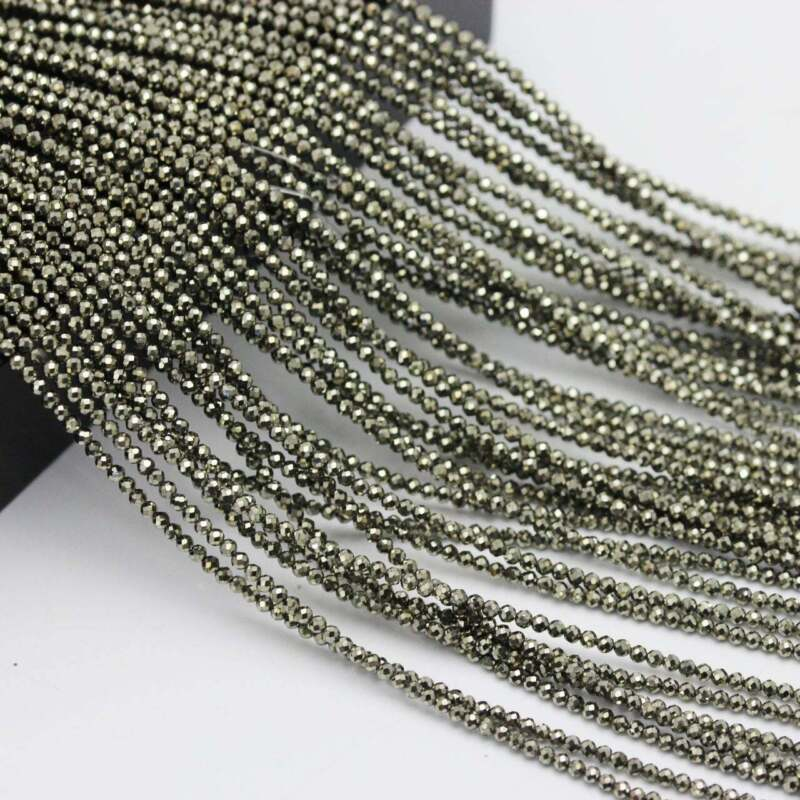 """Pyrite Faceted Round Beads 2mm 3mm 4mm 15.5"""" Strand"""