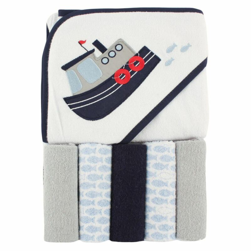 Luvable Friends Boy Hooded Towel with Washcloths, 6-Piece Set, Blue