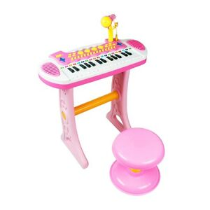 Girls Electronic 31 Key Keyboard Piano Toy Record+ Microphone Stool children kid