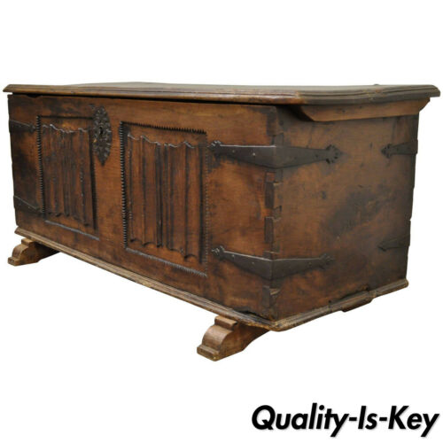16th Century Antique Dovetailed Gothic Renaissance Chestnut Coffer Chest Trunk