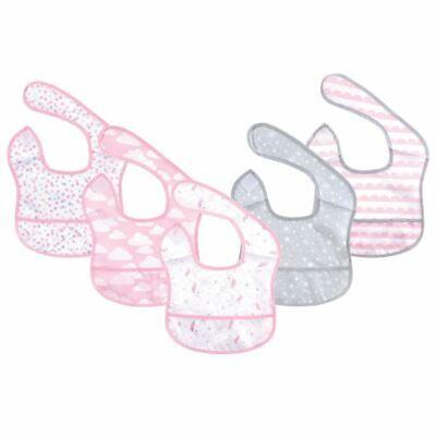 Hudson Baby Girl Waterproof Bibs, 5-Pack, Magical Unicorn, Beginner Bib