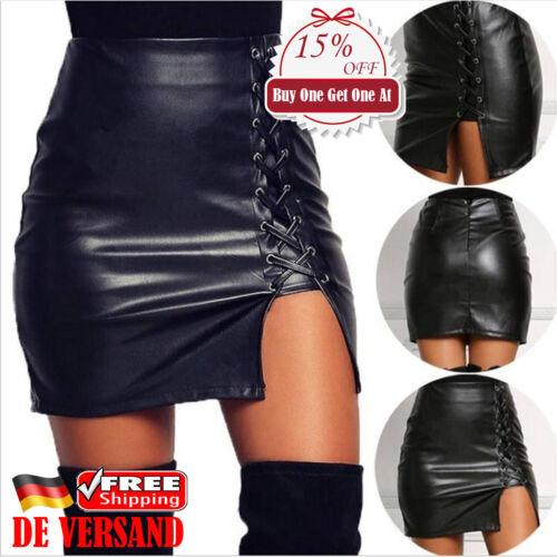 Damen PU Leder Sexy Asymmetrisch Miniröcke Hohe Taille Bleistiftröcke Minirock