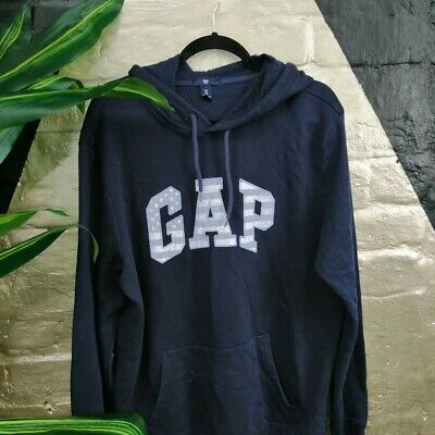 Vintage Gap Hoodie Spellout On Chest Flag Print Size L