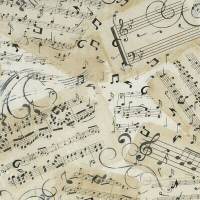 Music Song Sheets on Natural Cotton Fabric by Timeless Treas