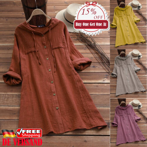 DE Damen Freizeit Leinenbluse Kapuze Longtop Longshirt mit Knopf Langarm Shirt