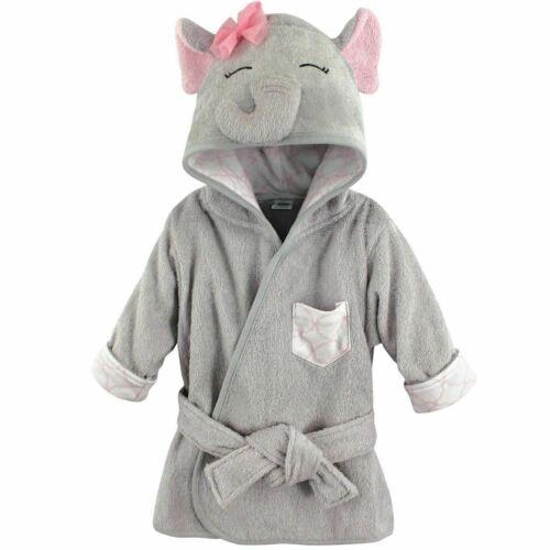 Hudson Baby Girl Animal Face Hooded Bath Robe, Pretty Elephant