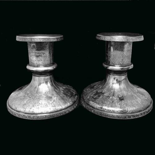 Antique Vintage Hartford Silver Co Silver Plate Large Candle Holders Set Marked